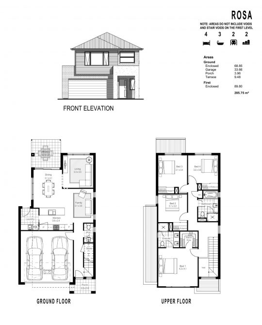 ROSA FLOOR PLANS_ FRONT ELEVATION-page-001