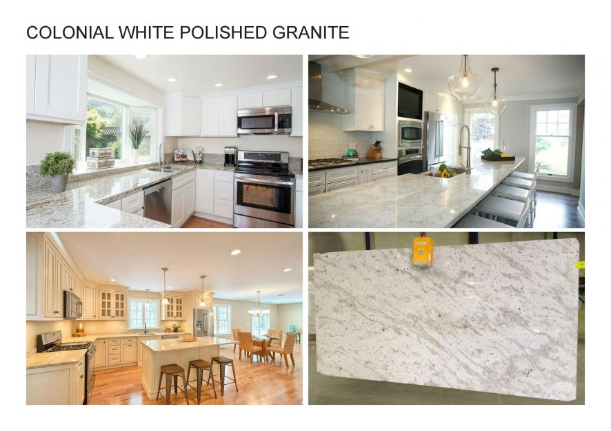 A. COLONIAL WHITE POLISHED GRANITE